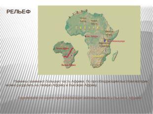 РЕЛЬЕФ Равнины занимают большую часть Африки. По преобладающим высотам матери