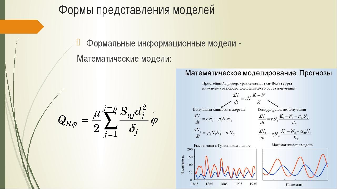 Формы представления моделей Формальные информационные модели - Математические...