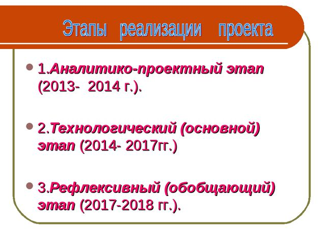 1.Аналитико-проектный этап (2013- 2014 г.). 2.Технологический (основной) этап...