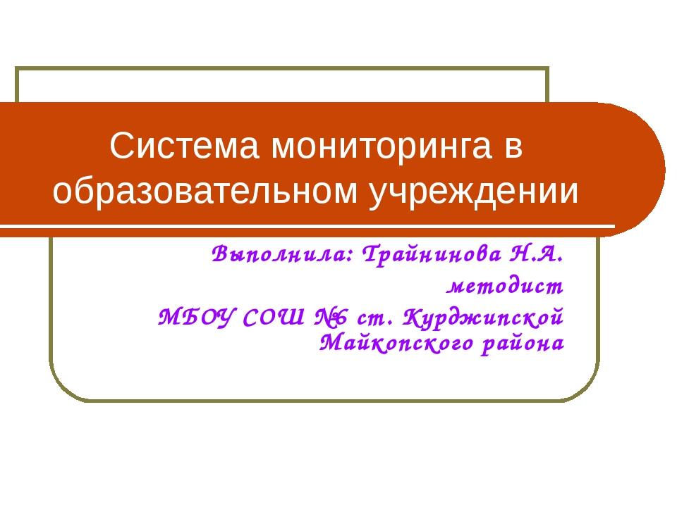 Система мониторинга в образовательном учреждении Выполнила: Трайнинова Н.А. м...