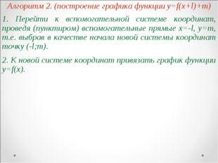 Алгоритм 2. (построение графика функции y=f(x+l)+m) 1. Перейти к вспомогатель
