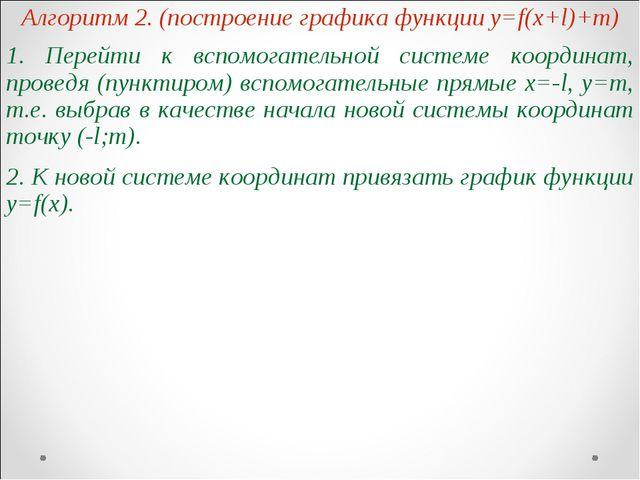 Алгоритм 2. (построение графика функции y=f(x+l)+m) 1. Перейти к вспомогатель...