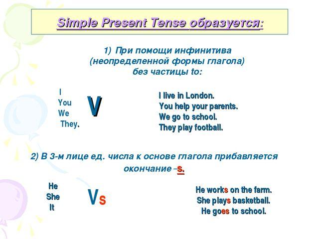 Simple Present Tense образуется: При помощи инфинитива (неопределенной формы...