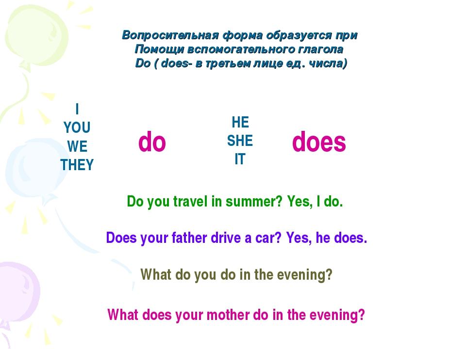 Вопросительная форма образуется при Помощи вспомогательного глагола Do ( does...
