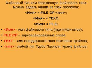 Файловый тип или переменную файлового типа можно задать одним из трех способо