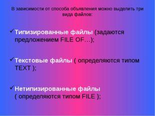В зависимости от способа объявления можно выделить три вида файлов: Типизиров