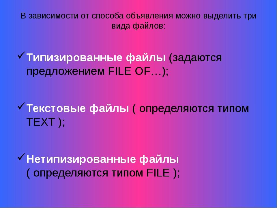 В зависимости от способа объявления можно выделить три вида файлов: Типизиров...