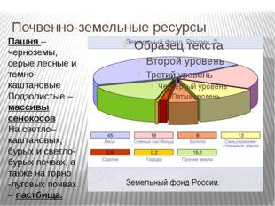 Почвенно-земельные ресурсы Пашня – черноземы, серые лесные и темно- каштановы