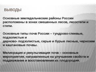 выводы Основные земледельческие районы России расположены в зонах смешенных л