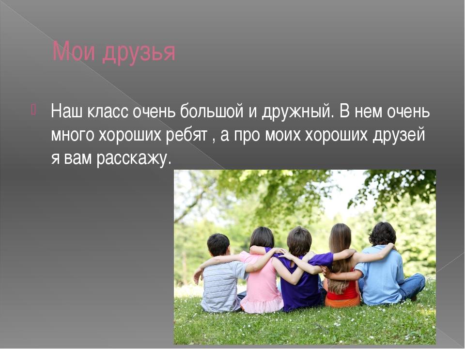 Мои друзья Наш класс очень большой и дружный. В нем очень много хороших ребят...