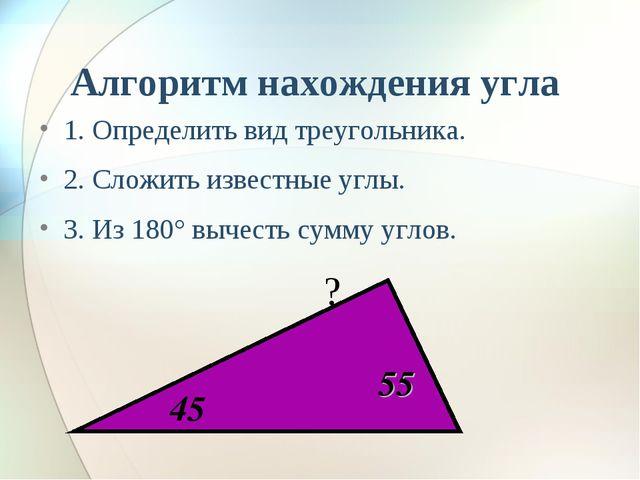 Алгоритм нахождения угла 1. Определить вид треугольника. 2. Сложить известные...