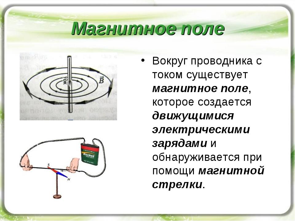 Магнитное поле Вокруг проводника с током существует магнитное поле, которое с...