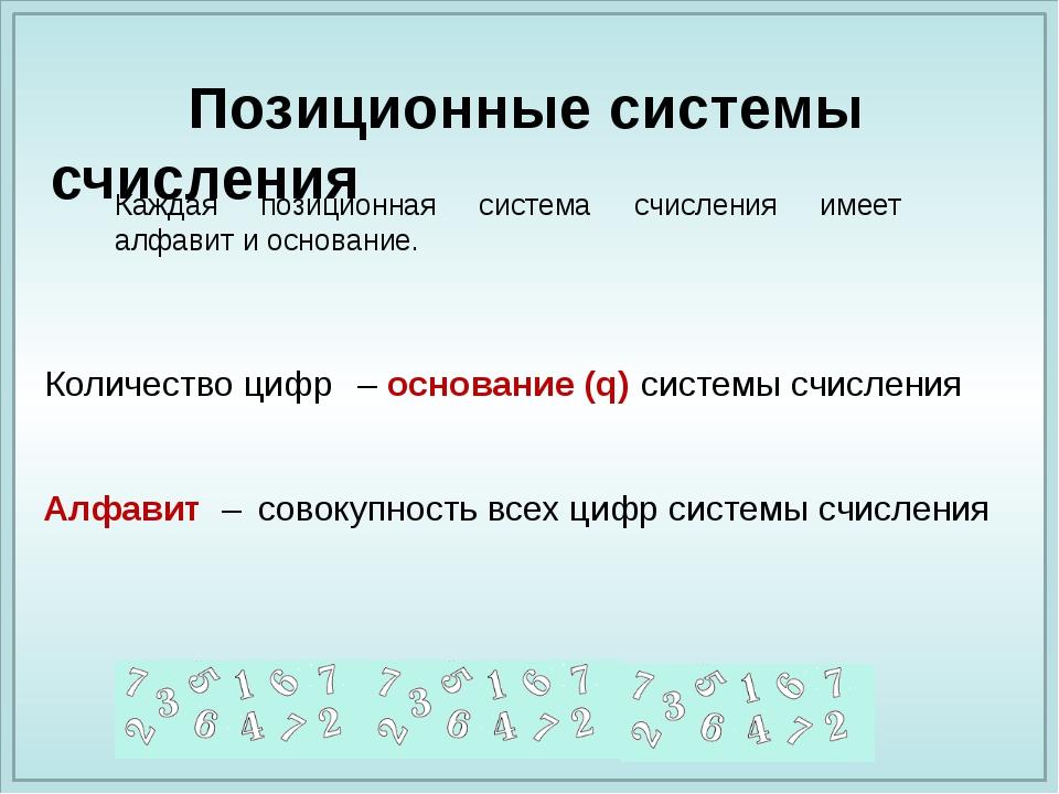 – основание (q) совокупность всех цифр системы счисления Алфавит – Позиционны...