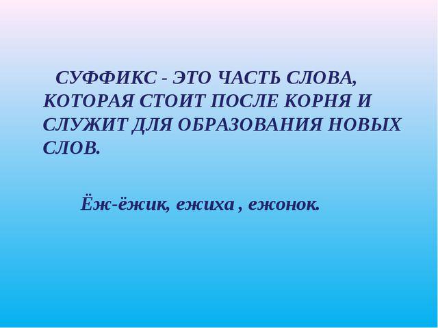 СУФФИКС - ЭТО ЧАСТЬ СЛОВА, КОТОРАЯ СТОИТ ПОСЛЕ КОРНЯ И СЛУЖИТ ДЛЯ ОБРАЗОВАНИ...
