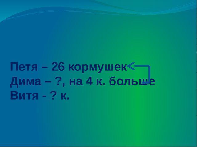 Петя – 26 кормушек Дима – ?, на 4 к. больше Витя - ? к.