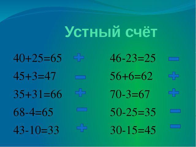 Устный счёт 40+25=65 46-23=25 45+3=47 56+6=62 35+31=66 70-3=67 68-4=65 50-25...