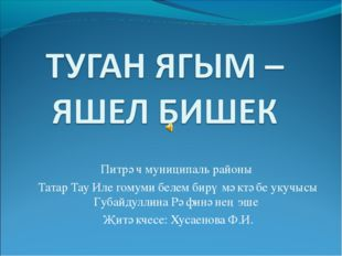 Питрәч муниципаль районы Татар Тау Иле гомуми белем бирү мәктәбе укучысы Губа