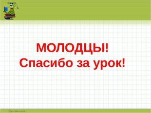 МОЛОДЦЫ! Спасибо за урок!