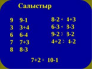 Салыстыр 9 > 9-1 3 < 3+4 6 > 6-4 7 < 7+3 8 > 8-3 8-2 < 4+3 6-3 < 8-3 9-2 > 8