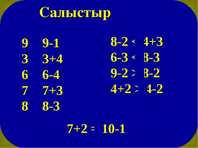 Салыстыр 9 > 9-1 3 < 3+4 6 > 6-4 7 < 7+3 8 > 8-3 8-2 < 4+3 6-3 < 8-3 9-2 > 8...