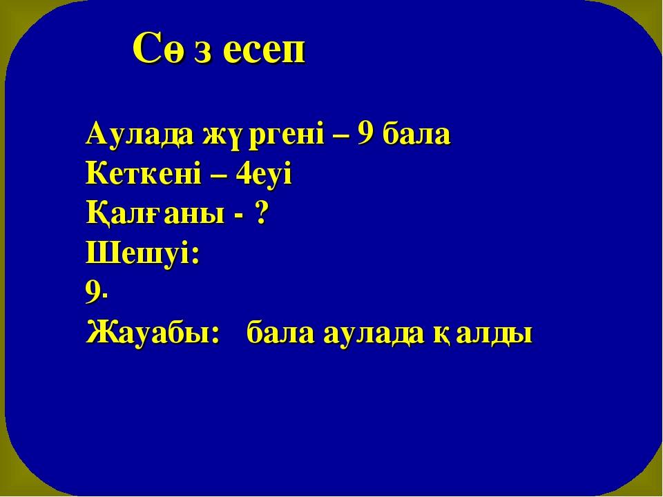 Сөз есеп Аулада жүргені – 9 бала Кеткені – 4еуі Қалғаны - ? Шешуі: 9-4=5 (ба...