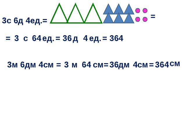 3с 6д 4ед.= = = с ед. 3 64 = д ед. 36 4 3м 6дм 4см = = 364 м см = 3 64 дм см...