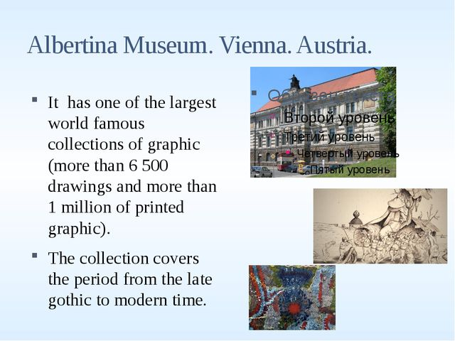 Albertina Museum. Vienna. Austria. It has one of the largest world famous col...