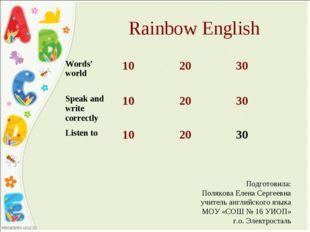 Rainbow English Подготовила: Полякова Елена Сергеевна учитель английского язы