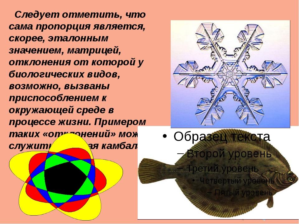 Следует отметить, что сама пропорция является, скорее, эталонным значением,...