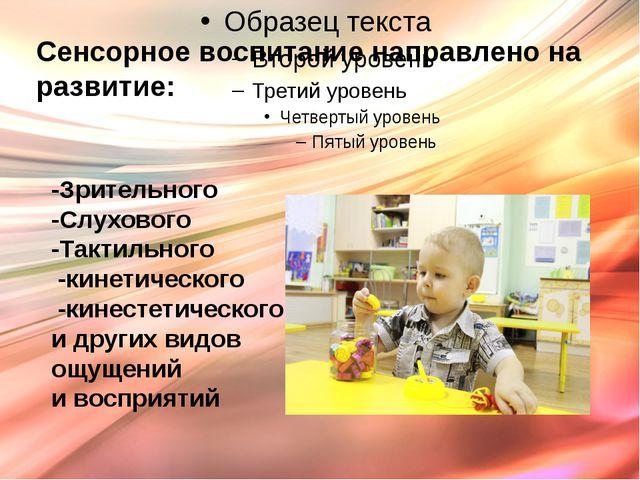 Сенсорное воспитание направлено на развитие: -Зрительного -Слухового -Тактиль...