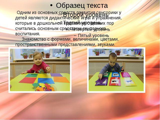 Одним из основных средств развития сенсорики у детей являются дидактические...