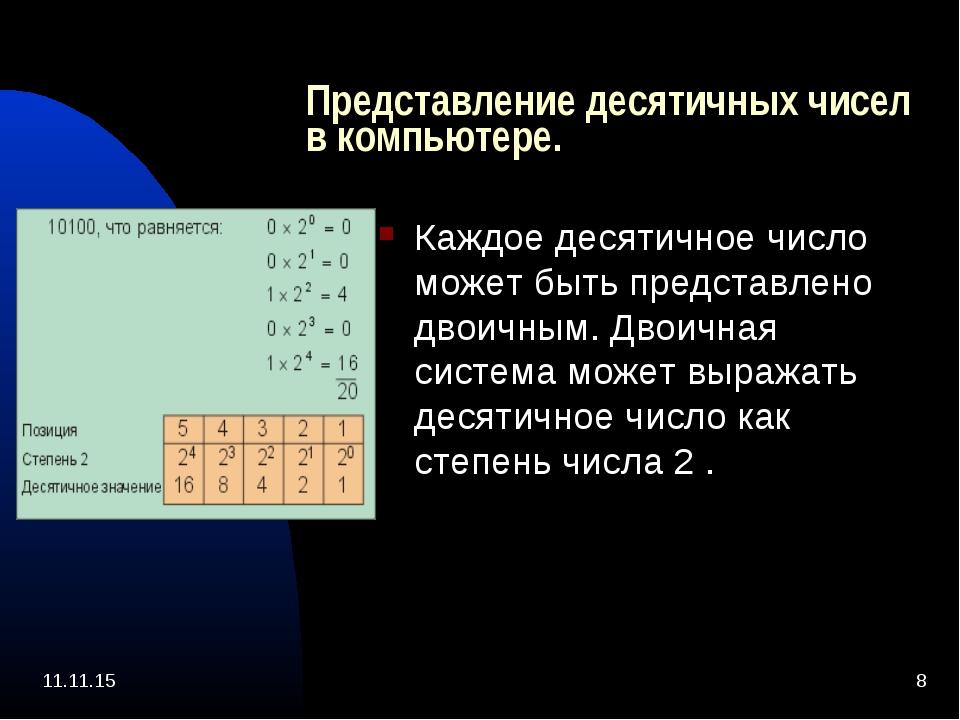 * * Представление десятичных чисел в компьютере. Каждое десятичное число може...