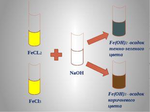 FeCL2 FeCl3 NaOH Fe(OH)2 -осадок темно-зеленого цвета Fe(OH)3 - осадок корич