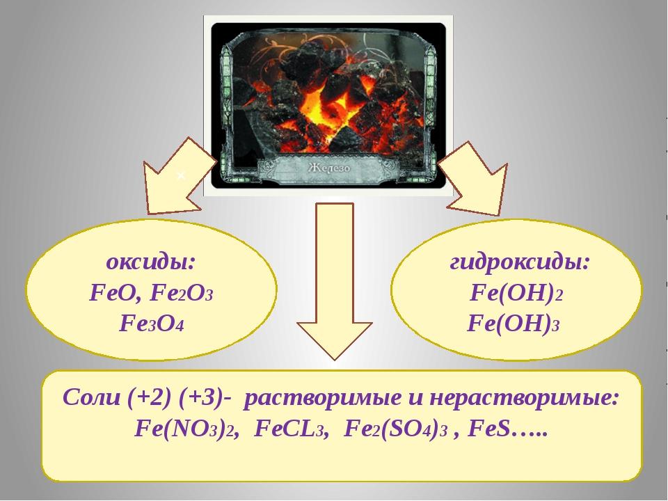 Соли (+2) (+3)- растворимые и нерастворимые: Fe(NO3)2, FeCL3, Fe2(SO4)3 , FeS...
