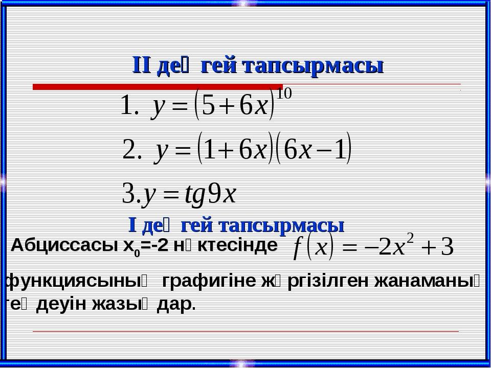 ІІ деңгей тапсырмасы І деңгей тапсырмасы Абциссасы х0=-2 нүктесінде функциясы...