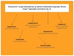 Лексикологія – розділ мовознавства, що вивчає словниковий склад мови. Містит