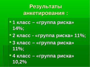 Результаты анкетирования : 1 класс – «группа риска» 14%; 2 класс - «группа ри