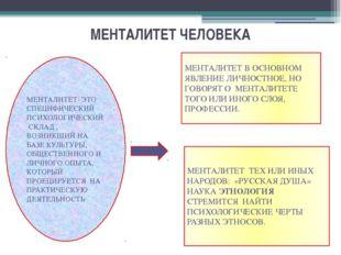 МЕНТАЛИТЕТ ЧЕЛОВЕКА МЕНТАЛИТЕТ- ЭТО СПЕЦИФИЧЕСКИЙ ПСИХОЛОГИЧЕСКИЙ СКЛАД , ВОЗ