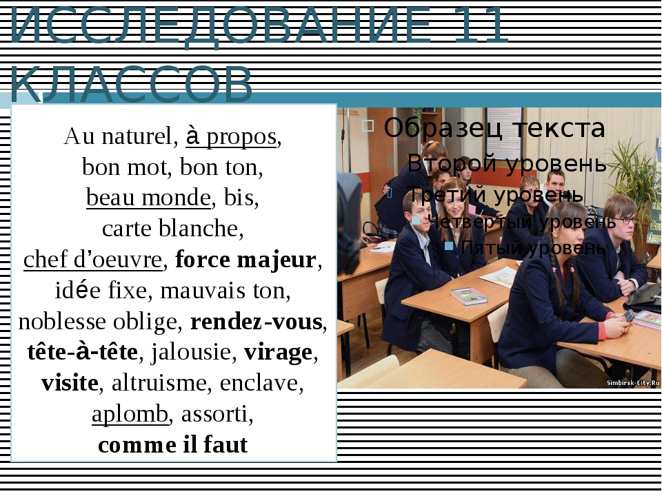 ИССЛЕДОВАНИЕ 11 КЛАССОВ Au naturel, à propos, bon mot, bon ton, beau monde, b...