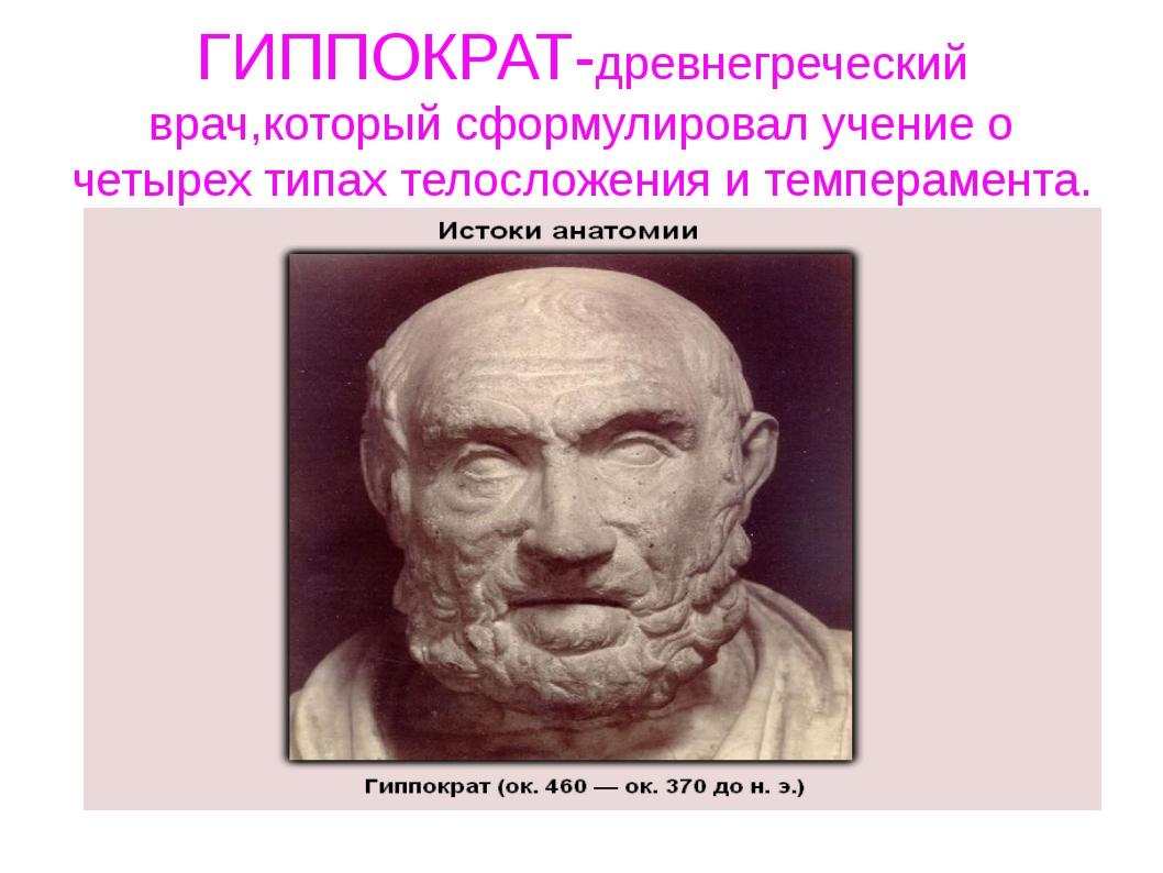 ГИППОКРАТ-древнегреческий врач,который сформулировал учение о четырех типах т...