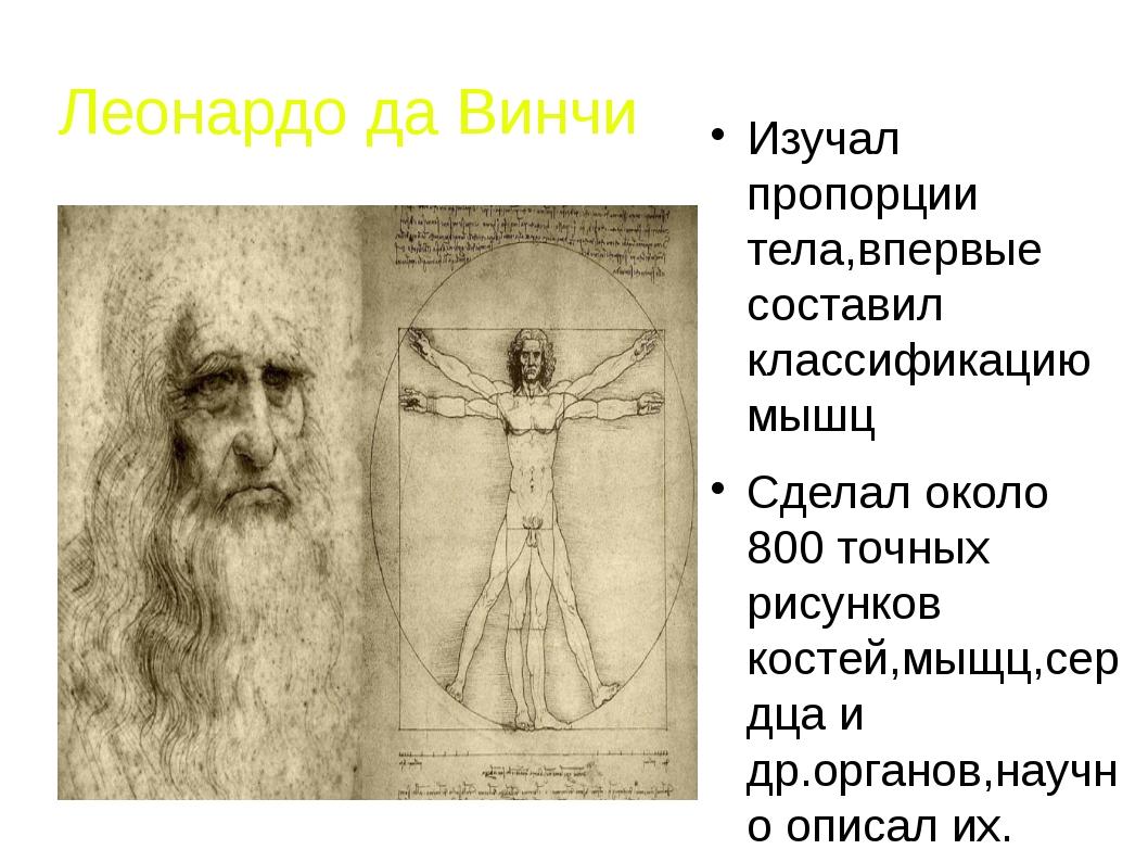 Леонардо да Винчи Изучал пропорции тела,впервые составил классификацию мышц С...