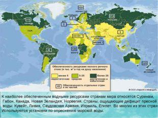 К наиболее обеспеченным водными ресурсами странам мира относятся Суринам, Габ
