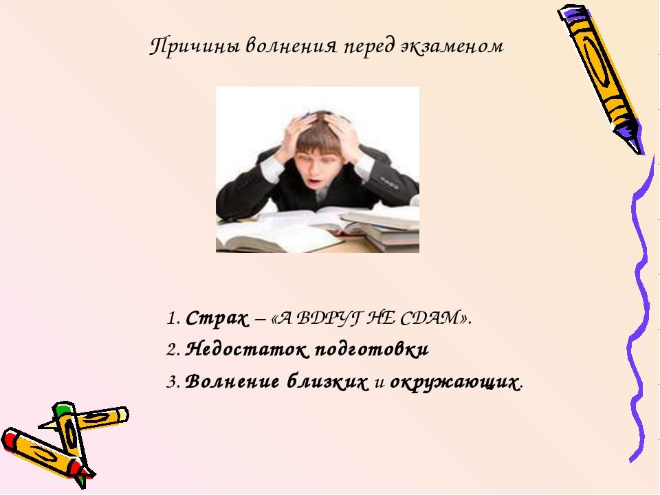 Причины волнения перед экзаменом 1. Страх – «А ВДРУГ НЕ СДАМ». 2. Недостаток...