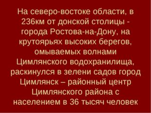 На северо-востоке области, в 236км от донской столицы - города Ростова-на-Дон