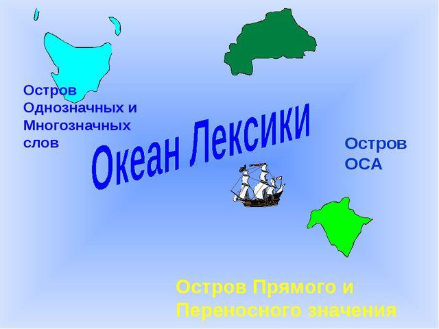 Остров Однозначных и Многозначных слов Остров ОСА Остров Прямого и Переносног...