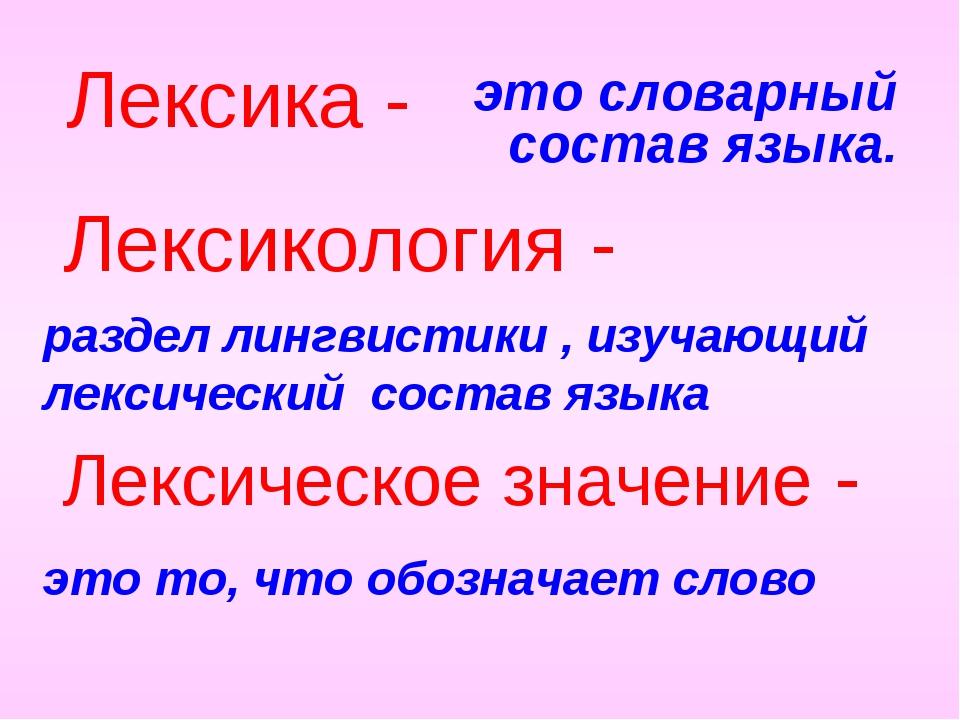 это словарный состав языка. Лексика - раздел лингвистики , изучающий лексичес...