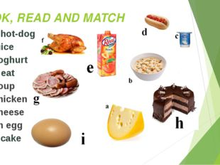 LOOK, READ AND MATCH 1. a hot-dog 2. juice 3. yoghurt 4. meat 5. soup 6. chic