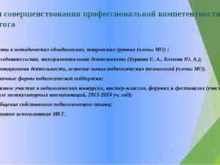 Пути совершенствования профессиональной компетентности педагога 1. Работа в м
