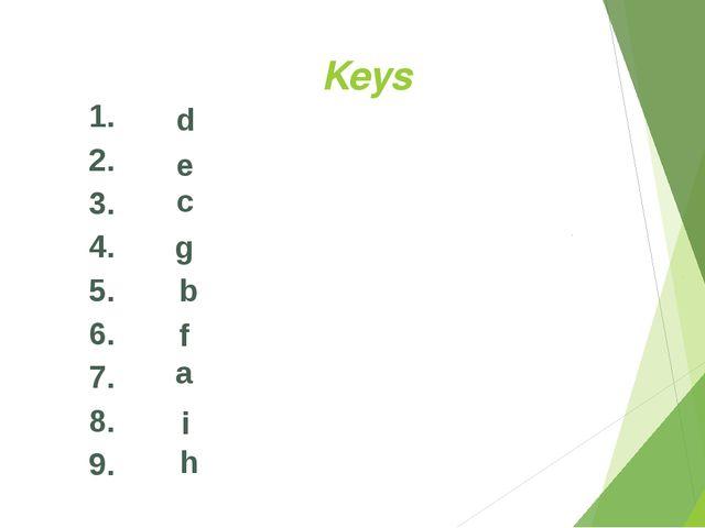 Keys 1. 2. 3. 4. 5. 6. 7. 8. 9. d e c g b f a i h