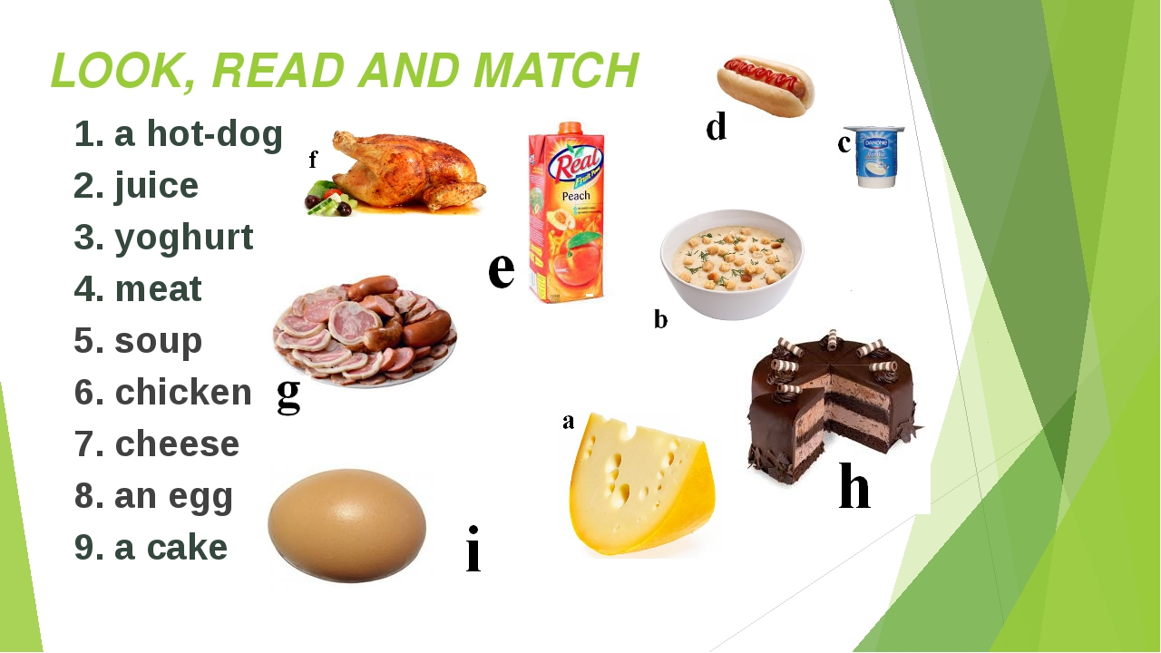 LOOK, READ AND MATCH 1. a hot-dog 2. juice 3. yoghurt 4. meat 5. soup 6. chic...